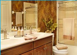 Accent your bath with specialty fixtures, counters and cabinetry