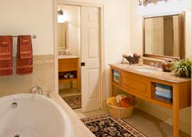 Very luxurious baths include granite, resort styled vanities and roman tubs