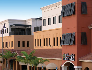 Exterior photo of Portofino Plaza in Homestead Florida, a retail and office plaza designed by Prime Commercial Developers