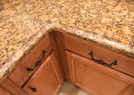 top view of a quality counter top, cabinets and fixtures