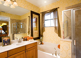 Many luxury features such as dual vanities, roman tubs and glass enclosed showers are available at Villa Portofino East